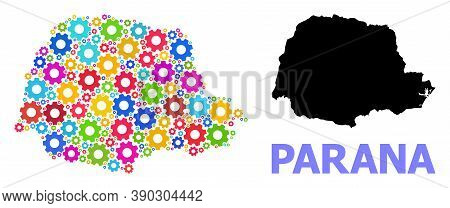 Vector Mosaic Map Of Parana State Combined For Engineering. Mosaic Map Of Parana State Is Designed W