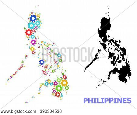 Vector Mosaic Map Of Philippines Done For Mechanics. Mosaic Map Of Philippines Is Made From Scattere