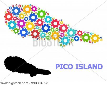 Vector Mosaic Map Of Pico Island Organized For Mechanics. Mosaic Map Of Pico Island Is Made From Sca