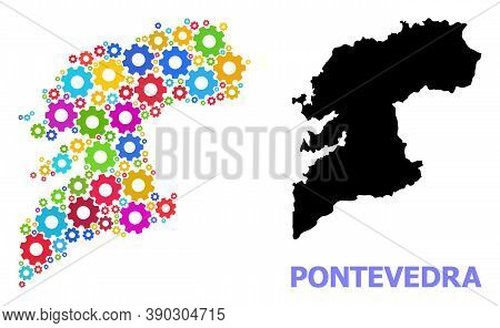 Vector Collage Map Of Pontevedra Province Created For Engineering. Mosaic Map Of Pontevedra Province