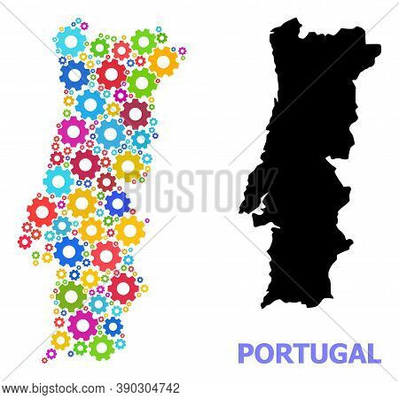 Vector Composition Map Of Portugal Designed For Engineering. Mosaic Map Of Portugal Is Created Of Sc