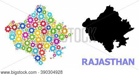 Vector Mosaic Map Of Rajasthan State Designed For Engineering. Mosaic Map Of Rajasthan State Is Form