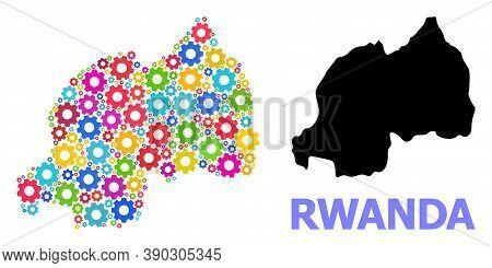 Vector Mosaic Map Of Rwanda Constructed For Engineering. Mosaic Map Of Rwanda Is Made With Randomize