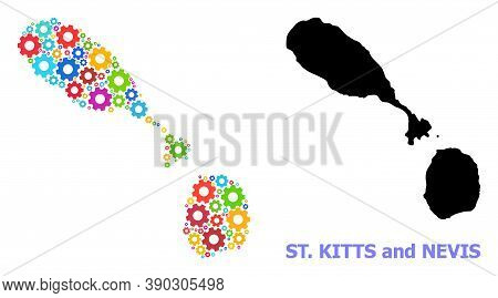 Vector Mosaic Map Of Saint Kitts And Nevis Done For Engineering. Mosaic Map Of Saint Kitts And Nevis