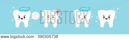 Healthy Tooth Gives A White Pill For A Tooth With Pain And It Is Recovering. Flat Design Cartoon Cha