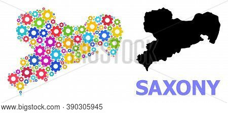 Vector Collage Map Of Saxony State Combined For Engineering. Mosaic Map Of Saxony State Is Designed