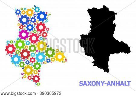 Vector Mosaic Map Of Saxony-anhalt State Designed For Mechanics. Mosaic Map Of Saxony-anhalt State I
