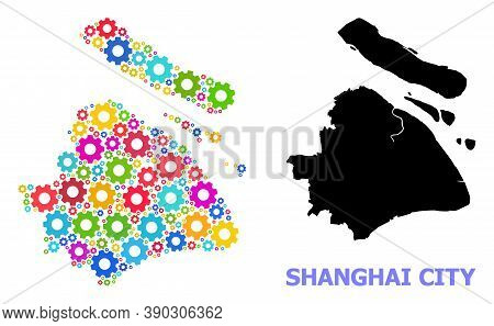 Vector Mosaic Map Of Shanghai Municipality Combined For Services. Mosaic Map Of Shanghai Municipalit