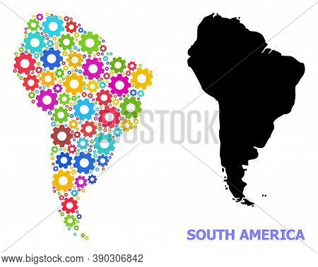 Vector Composition Map Of South America Organized For Engineering. Mosaic Map Of South America Is Or