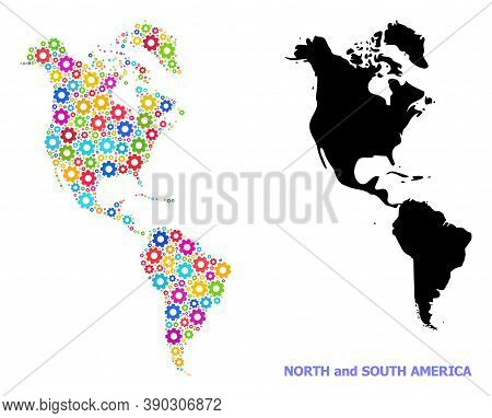 Vector Mosaic Map Of South And North America Designed For Industrial Apps. Mosaic Map Of South And N