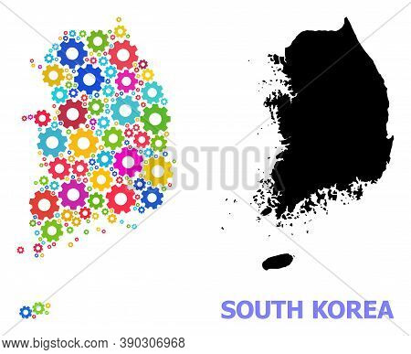 Vector Mosaic Map Of South Korea Done For Engineering. Mosaic Map Of South Korea Is Organized Of Ran