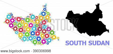 Vector Mosaic Map Of South Sudan Done For Workshops. Mosaic Map Of South Sudan Is Done With Randomiz