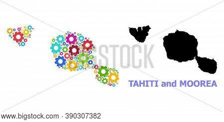 Vector Mosaic Map Of Tahiti And Moorea Islands Done For Mechanics. Mosaic Map Of Tahiti And Moorea I