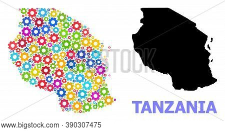 Vector Collage Map Of Tanzania Done For Engineering. Mosaic Map Of Tanzania Is Constructed From Scat