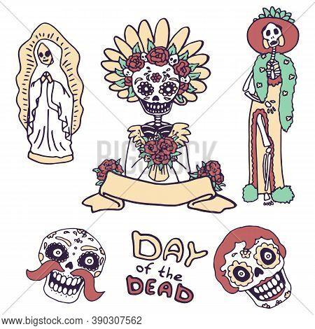 Calavera Skull Icon Set On White Isolated Backdrop. Santa Muerte For Invitation Or Gift Card, Notebo
