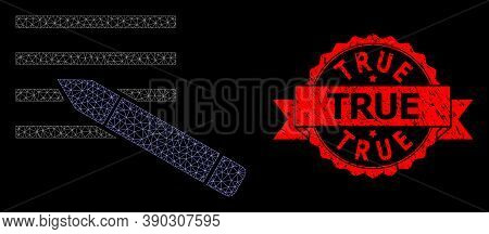 Mesh Polygonal Edit Text On A Black Background, And True Grunge Ribbon Seal. Red Stamp Seal Contains
