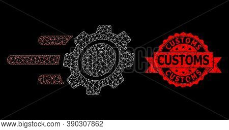 Mesh Network Rush Gear On A Black Background, And Customs Textured Ribbon Stamp Seal. Red Stamp Cont