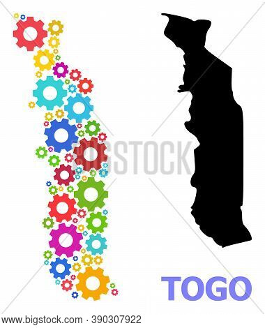 Vector Mosaic Map Of Togo Organized For Mechanics. Mosaic Map Of Togo Is Organized With Random Brigh