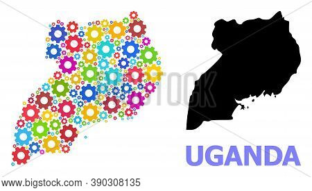 Vector Mosaic Map Of Uganda Done For Industrial Apps. Mosaic Map Of Uganda Is Created From Randomize
