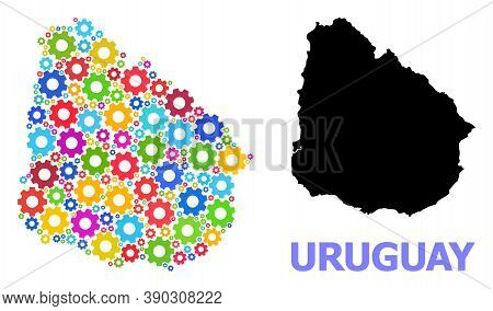 Vector Mosaic Map Of Uruguay Combined For Engineering. Mosaic Map Of Uruguay Is Constructed Of Rando