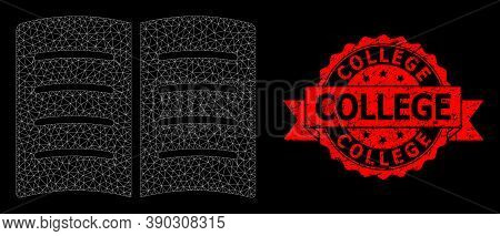 Mesh Net Open Book On A Black Background, And College Unclean Ribbon Stamp Seal. Red Seal Has Colleg
