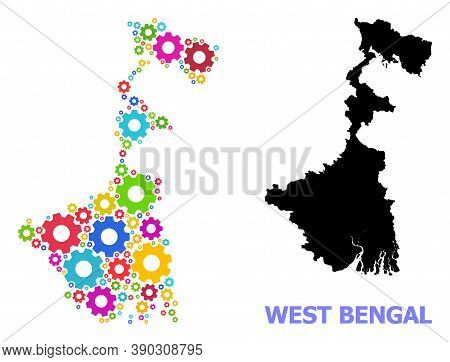 Vector Mosaic Map Of West Bengal State Created For Engineering. Mosaic Map Of West Bengal State Is O