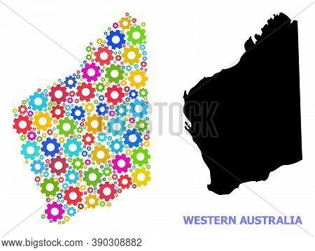 Vector Mosaic Map Of Western Australia Constructed For Engineering. Mosaic Map Of Western Australia