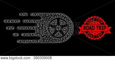 Mesh Polygonal Tire Wheel On A Black Background, And Road Trip Scratched Ribbon Seal Print. Red Seal