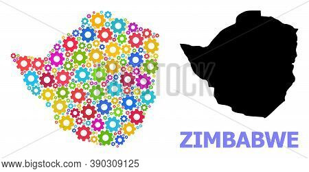 Vector Mosaic Map Of Zimbabwe Created For Engineering. Mosaic Map Of Zimbabwe Is Shaped With Random