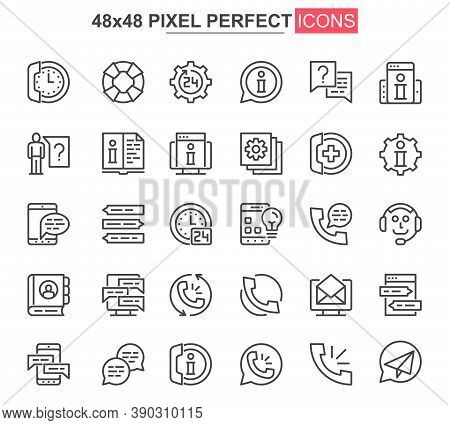 Support Service Thin Line Icon Set. Customer Support, Hotline Consultation Outline Pictograms For We