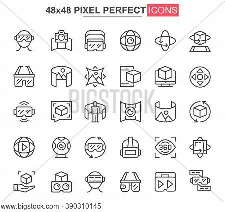 Virtual Reality Thin Line Icon Set. 3d Simulation And Computer Vision Outline Pictograms For Web And