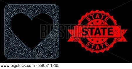 Mesh Polygonal Love Heart On A Black Background, And State Rubber Ribbon Seal Imitation. Red Seal Ha
