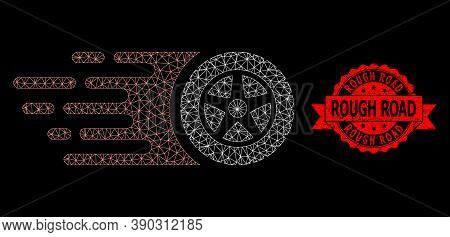 Mesh Network Tire Wheel On A Black Background, And Rough Road Corroded Ribbon Stamp Seal. Red Stamp