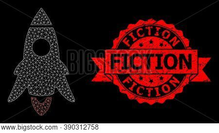Mesh Polygonal Rocket Start On A Black Background, And Fiction Rubber Ribbon Stamp Seal. Red Stamp S