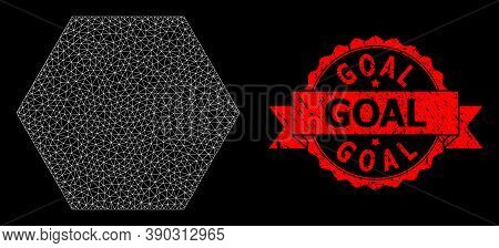 Mesh Net Filled Hexagon On A Black Background, And Goal Grunge Ribbon Seal. Red Seal Has Goal Captio