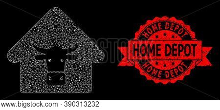 Mesh Network Cow Farm On A Black Background, And Home Depot Unclean Ribbon Seal. Red Seal Contains H