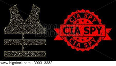 Mesh Polygonal Safety Vest On A Black Background, And Cia Spy Scratched Ribbon Stamp Seal. Red Stamp