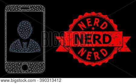 Mesh Network Mobile User Profile On A Black Background, And Nerd Textured Ribbon Stamp. Red Stamp Ha