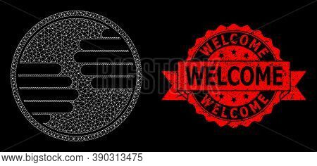 Mesh Polygonal Hands Circle On A Black Background, And Welcome Dirty Ribbon Seal Imitation. Red Seal