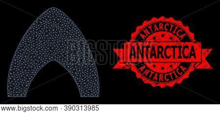 Mesh Web Igloo Home On A Black Background, And Antarctica Textured Ribbon Stamp Seal. Red Stamp Seal