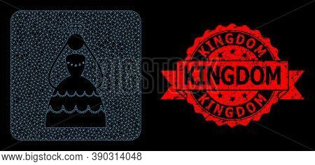Mesh Polygonal Crowned Bride On A Black Background, And Kingdom Scratched Ribbon Seal. Red Stamp Sea