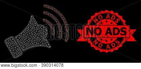 Mesh Polygonal Megaphone On A Black Background, And No Ads Dirty Ribbon Stamp Seal. Red Stamp Seal C