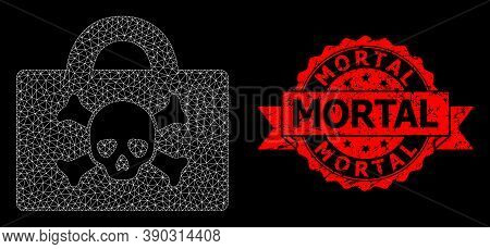 Mesh Polygonal Mortal Case On A Black Background, And Mortal Dirty Ribbon Stamp Seal. Red Seal Conta