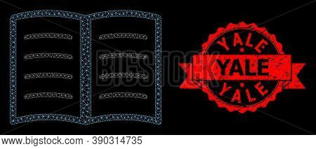 Mesh Net Open Book On A Black Background, And Yale Grunge Ribbon Seal Print. Red Seal Includes Yale