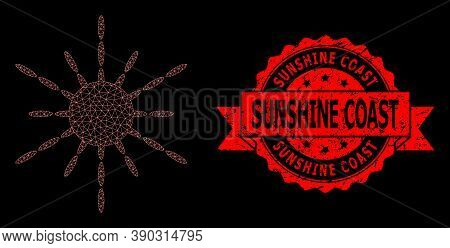 Mesh Net Sun Rays On A Black Background, And Sunshine Coast Dirty Ribbon Stamp Seal. Red Stamp Seal