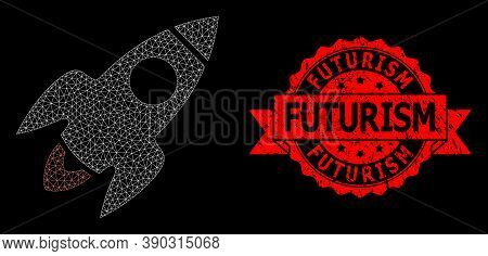 Mesh Polygonal Rocket Flight On A Black Background, And Futurism Scratched Ribbon Seal. Red Stamp Se