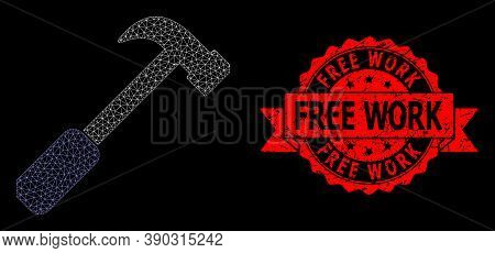 Mesh Web Hammer On A Black Background, And Free Work Rubber Ribbon Seal. Red Seal Contains Free Work