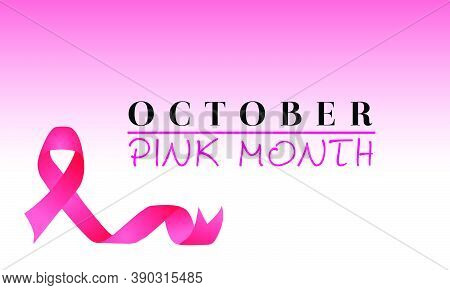 Vector Design For October, Pink Month. Banner For Breast Cancer Awareness