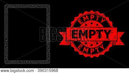 Mesh Polygonal Empty Page On A Black Background, And Empty Textured Ribbon Watermark. Red Seal Has E