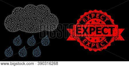 Mesh Polygonal Rain Cloud On A Black Background, And Expect Corroded Ribbon Stamp. Red Stamp Include